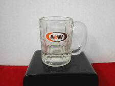 """A & W ROOT BEER  5 3/4"""" HIGH HEAVY CLEAR GLASS MUG WITH LOGO"""