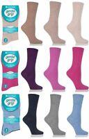 6 or 12 Pairs Womens Sock Shop Gentle Grip Diabetic Non Elastic Loose Top Socks