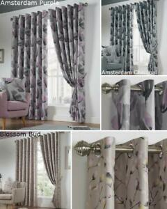 Floral Eyelet Ring Top Curtains Pair Blackout Fully Lined Thermally Efficient
