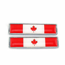 2 x Stainless Metal Flag of Canada Maple leaf Emblem Sticker For Harley Gas Tank