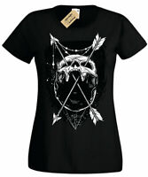 Skull Arrows T-Shirt gothic skulls skeleton goth rock Womens Ladies