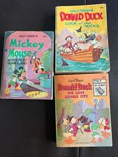 Walt Disney Big Little Book Lot Of 3 Vintage 1969-75 Whitman Mickey Mouse Donald