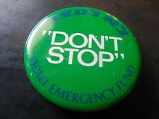 Israel Pin Back Button Vintage Don't Stop Israeli Emergency Fund Hebrew