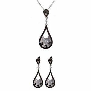 14K White Gold Over Black & White Micro Pave Diamond Pendant & Earrings Set