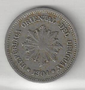 URUGUAY,  1901-A,  1 CENTESIMO,  COPPER NICKEL,  VERY FINE-EXTRA FINE+,  KM#19