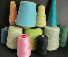 11 Vintage Lot Cones Spools Mixed Colors Thread Yarn mohair wool +