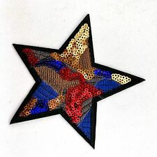 1pc Star Embroidered sequin Patch Cloth Iron Applique artistic sewing #1198