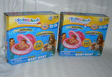 Swim School 2-in-1 Baby Boat Inner Tube Pink Girl's Flotation Trainer Set Lot 2