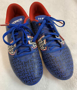 UNDER ARMOUR Clutch Fit Force Royal Blue White Black Red Soccer Cleats Youth 3.5