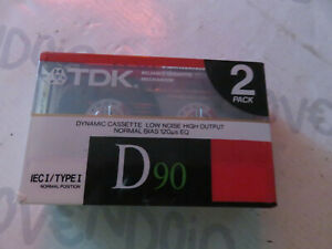 2 PACK TDK D90 Audio Cassetta Tape IEC/Type 1 Normal Position Nuove sigillate