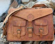 Men's Vintage Strong Goat Leather New Messenger Shoulder Laptop Briefcase bag