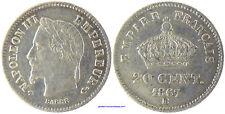 NAPOLEON III , 20 CENTIMES ARGENT  1867  BB  STRASBOURG