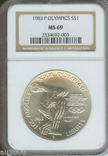 New listing 1983-P Olympics Los Angeles Commemorative Silver Dollar S$1 Ngc Ms69 !