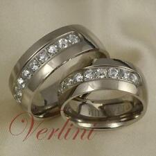 8MM Titanium Wedding Rings Set Simulated Diamond Bands For Men & Women Size 6-13