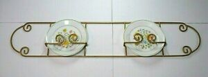 vtg Wrought Iron double Plate display Rack wall hanging gold tone scroll design