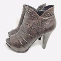 Marc Fisher Kerrie Womens 8.5 Brown Leather Open Toe Studded Platform Bootie