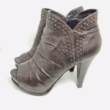 a0705fde148c Marc Fisher Kerrie Womens 8.5 Brown Leather Open Toe Studded Platform Bootie