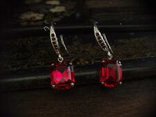 Vintage Deco Ruby Red Emerald Cut Crystal Drop Earrings. Very Downton Abbey