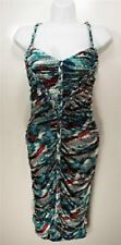 NWT $74 Baby Phat Multi Color Halter V-Neck Ruched Braided Strap Knit Dress 1XL