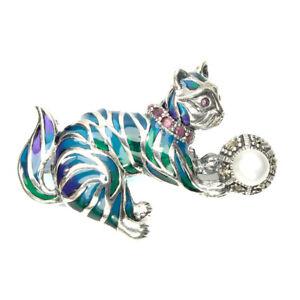 Brooch Marcasite Enamel Ruby and Pearl Genuine Gems Sterling Silver Cat Design