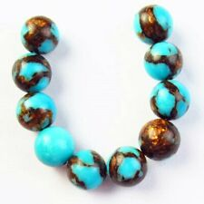 10Pcs/Set Blue Turquoise Gold Copper Bornite Round Ball Pendant Bead L35363