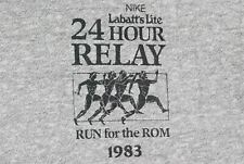 Vintage 80s Nike 24 Hour Relay Race T Shirt 50/50 USA Single Stitch Running Gray