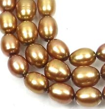 A+ 7x5mm Champagne / Gold Freshwater Pearl Rice Barrel Beads 16""