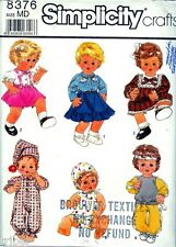 "Sewing PATTERN Doll Wardrobe 15-16"" Tiny Tears Dresses Rompers Pants"