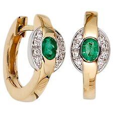 Creolen bicolor 16 Diamanten 2 Smaragde grün 585 Gold Gelbgold Ohrringe 25984