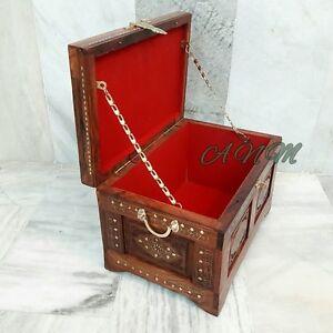 Wooden Box Treasure Pirate Chest Collectible Home Decorative Box