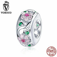 VOROCO 925 Sterling Silver Color CZ Round Chunk Beads Charms With High Polish