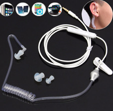 Spiral Acoustic Hollow Air Tube 3.5mm Anti Radiation Headphone Earphone with Mic
