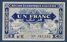ALGERIE - 1 FRANC - Pick n° 98 b de 1944 en SPLSie E N° 757,332
