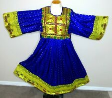 Indian Pakistan Morocco Style Embroidered Mirrored Dress Purple Gold S-M