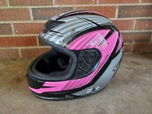 ZR1 Helmet - Full Face NO Visor - ZR-1 Pink, Black & Silver Size Large