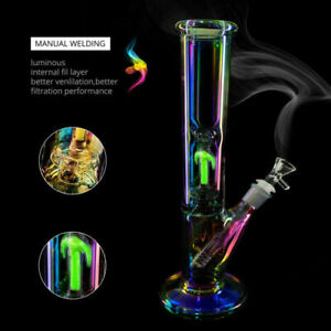 26cm Glow in the dark Colorful Hookah Shisha Water Pipe Glass Smoking Bong