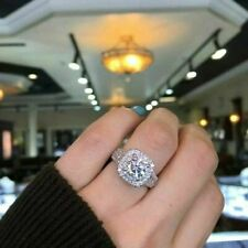 Certified 3.00Ct White Round Diamond Halo Engagement Ring Solid 14k White Gold