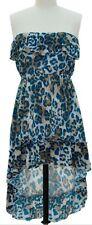 Blue Strapless Ruffle Cheetah Animal Print Hi low Dress Sz.Large