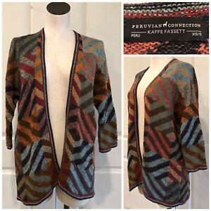 PERUVIAN CONNECTION KAFFE FASSETT Navala Cotton Kimono Cardigan Sweater Art XS S