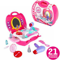 Makeup Toy Beauty Salon Cosmetic Hair Solon Pretend Play Kids Girl Gift Set New
