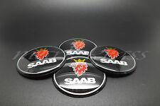 SET 4 x 60mm Saab Black Wheel Alloy Center Stickers 9-5, 9-3