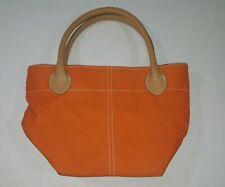 Lillian Vernon Mini Red Cotton Canvas Tote Small Handbag Beige Leather Straps