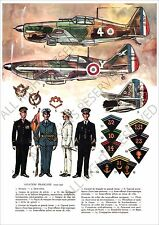 PLANCHE UNIFORMS PRINT WWII France French Aviation Française 1939-1940 Morane