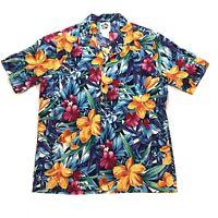 Hilo Hattie Hawaiian Shirt Button Front Floral Vintage Party Mens Size L  EUC