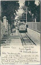 1904 GENOVA FUNICOLARE DEL RIGHI cartolina animata viaggiata