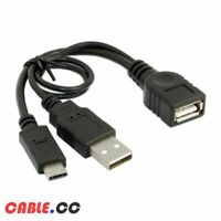 CableCC Type-C USB-C to USB 2.0 OTG Data Cable with Power for Phone S8 S9 Note8