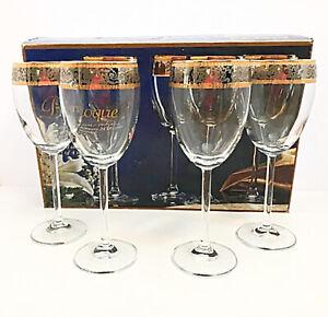 Baroque Wine Glasses 24K Gold & Platinum Crystal Stemware Four Hand Decorated