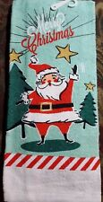CHRISTMAS 100% Cotton KITCHEN DISH TOWEL RETRO SANTA  Merry Christmas