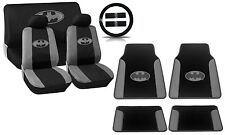 15PC Gotham Gray Black & Silver Batman Logo Car Seat Covers Floor Mats Set HS4