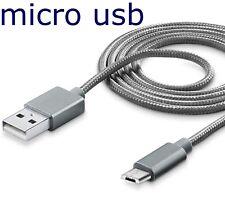 CAVO MICRO USB RICARICA DATI PER SAMSUNG HUAWEI LG CAVO 1 MT CAVETTO SILVER